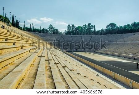 Panathenaic stadium or kallimarmaro in Athens - stock photo