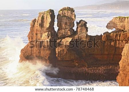 pancake rock canyon at western coast in New Zealand - stock photo