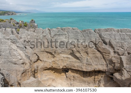 Pancake rocks - a view of the Punakaiki in New zealand - Landscape