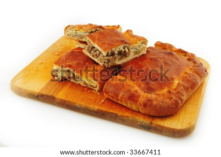 Pancake with meat - stock photo