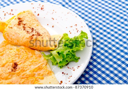 Pancake with pumpkin in plate