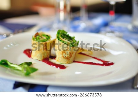 pancakes appetizer on white plate - stock photo
