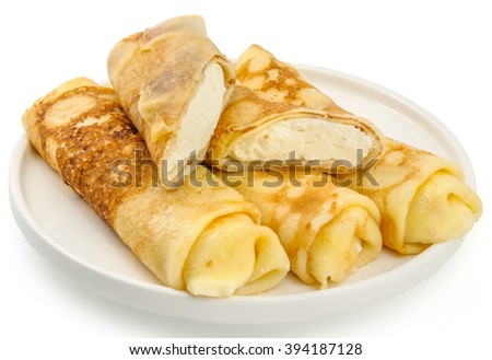 Pancakes baked with curd, on a white background - stock photo