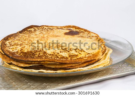 pancakes on a platter