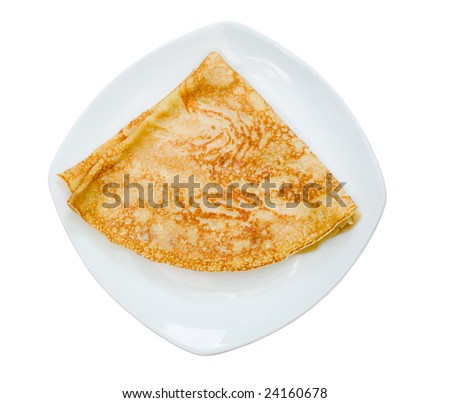 pancakes on the plate.isolated on white background - stock photo