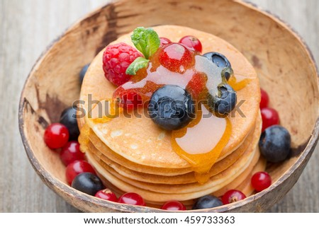 Pancakes. Stack of pancakes with fresh berry.