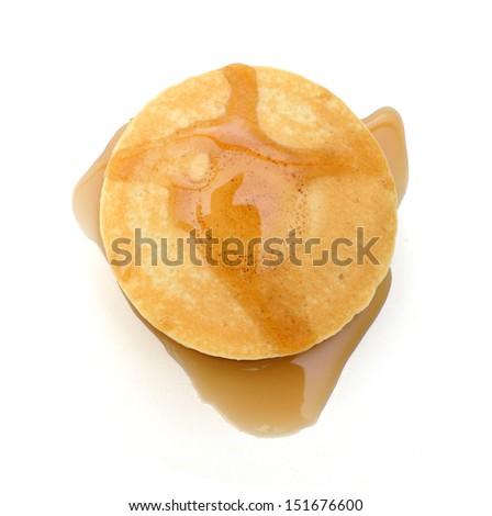 Pancakes stack on white background  - stock photo