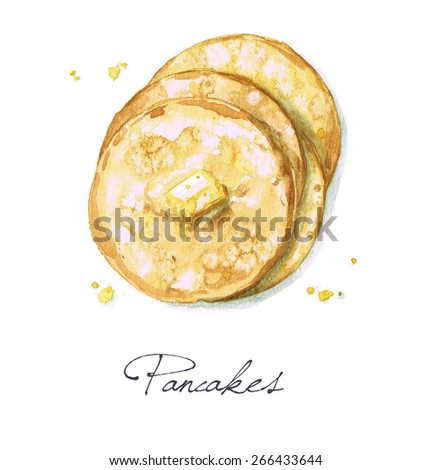 Pancakes - Watercolor Food Collection - stock photo