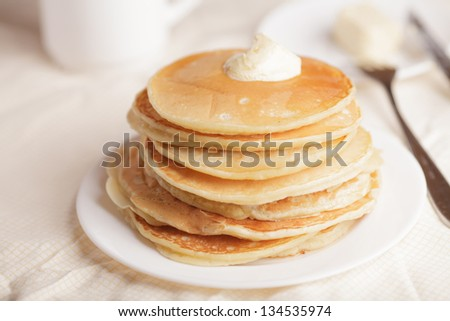 Pancakes with a sour cream - stock photo
