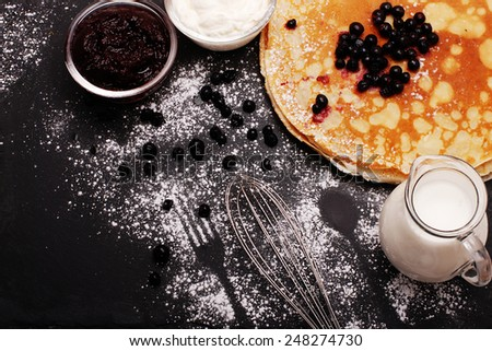 Pancakes with blueberries.  - stock photo