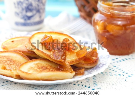Pancakes with jam - stock photo