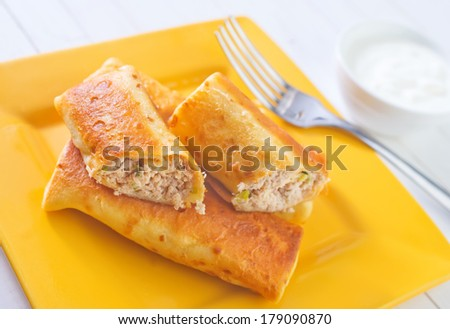 pancakes with meat - stock photo