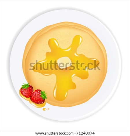 Pancakes With Oil, Honey And Strawberry,  Isolated On White Background - stock photo