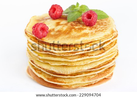 Pancakes with raspberry - stock photo