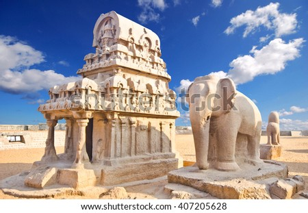 Panch Rathas Monolithic Hindu Temple in Mahabalipuram. Great South Indian architecture, UNESCO World Heritage Site. South India, Tamil Nadu, Mahabalipuram