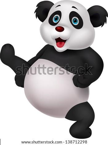 Panda cartoon doing martial art - stock photo