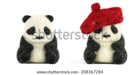 panda isolated on the white background, handmade - stock photo