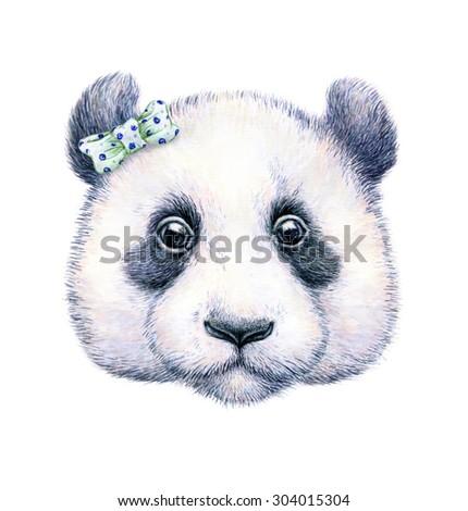 Panda on white background. Watercolor drawing. Children's illustration. Handwork - stock photo