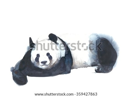 Panda resting watercolor painting illustration isolated on white background
