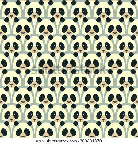 Panda seamless cartoon pattern - stock photo