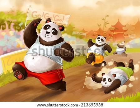 Pandas compeating - stock photo