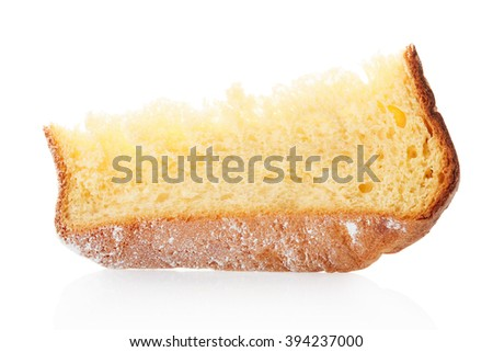 Pandoro, Christmas cake slice with icing sugar isolated on white, clipping path included - stock photo