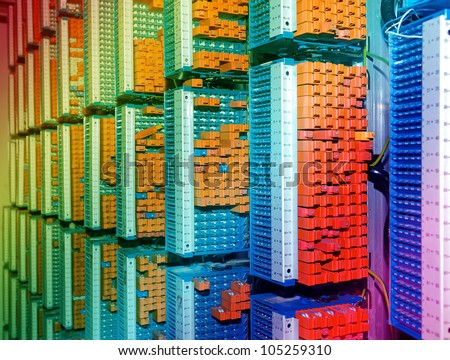Panel of network switch - stock photo