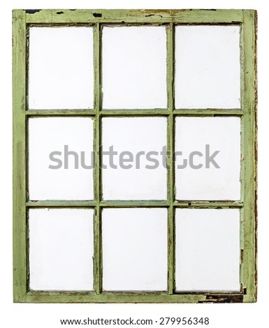 panel of vintage, grunge, sash window with dirty glass (9 panes), isolated on white with a clipping path - stock photo