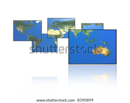 Paneled world map. Australia. - stock photo