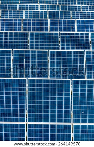 panels a solar power plant. solar energy is nachhaltug and environmentally friendly. - stock photo