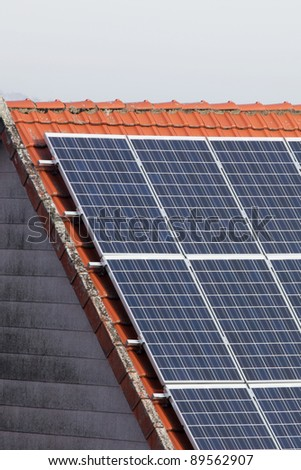 Panels of solar cells on a roof