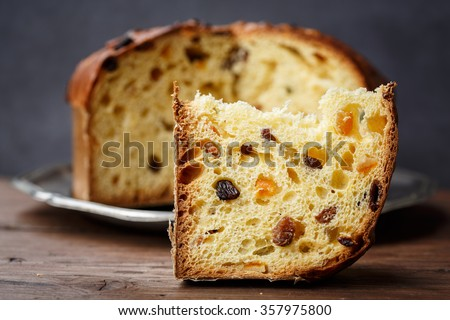 Panettone (Italian Christmas cake), sliced - stock photo