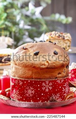 Panettone - traditional italian christmas cake - stock photo
