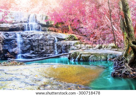 Pang Sida beautiful waterfall in tropical forest of national park, Thailand - stock photo
