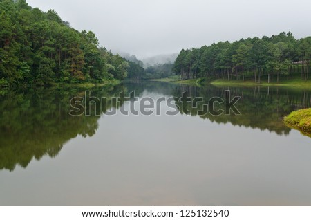 Pang Ung. Beautiful forest lake in the morning. Mae Hong Son. Thailand