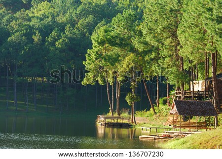 Pang Ung Lake and forest, Maehongson Province, North of Thailand - stock photo