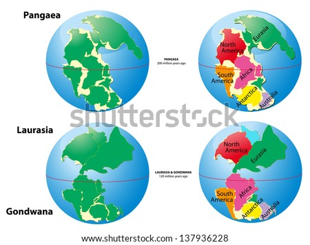 Pangaea, Laurasia, Gondwana. Was the supercontinent that existed during the Paleozoic and Mesozoic eras. Ice age. glacial age - stock photo