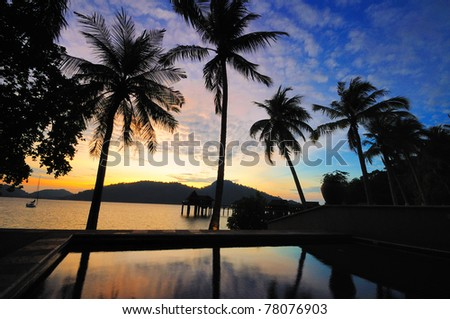 Pangkor Laut, an island of the coast of Peninsular Malaysia, well known for its Villas on stilts and spectacular sunrise
