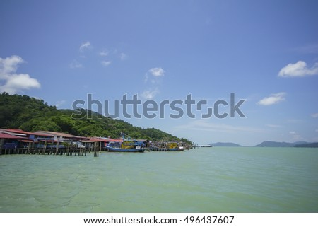 PANGKOR, MALAYSIA - 11 OCT 2016 - Fisherman village and floating house at Pangkor island. Pangkor is one of the best beaches in peninsular Malaysia