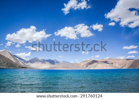Pangong lake , the highest salt water lake in the world at Ladakh, Jammu and Kashmir state, India