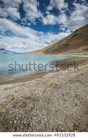 Pangong Lake with mountain and blue sky, Leh Ladakh