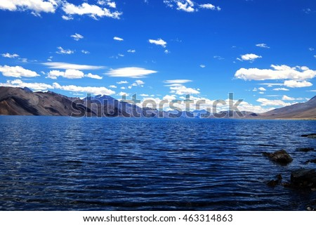 Pangong Lake with mountain and sky, Leh Ladakh ,India