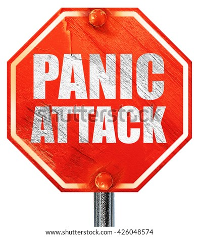 panic attack, 3D rendering, a red stop sign - stock photo