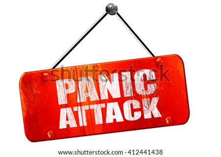 panic attack, 3D rendering, vintage old red sign - stock photo