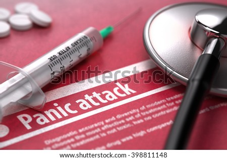 Panic Attack - Medical Concept on Red Background with Blurred Text and Composition of Pills, Syringe and Stethoscope. 3D Render. - stock photo