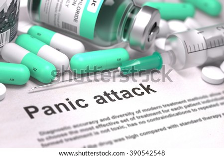 Panic Attack - Printed Diagnosis with Mint Green Pills, Injections and Syringe. Medical Concept with Selective Focus. 3D Render. - stock photo