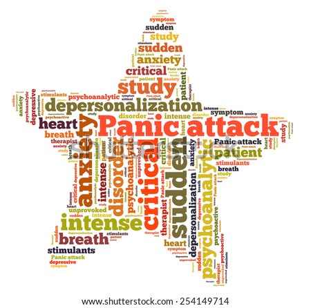 panic attack word cloud - stock photo