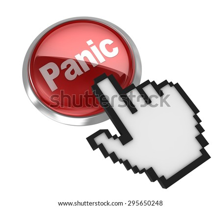 Panic button , This is a computer generated and 3d rendered picture. - stock photo