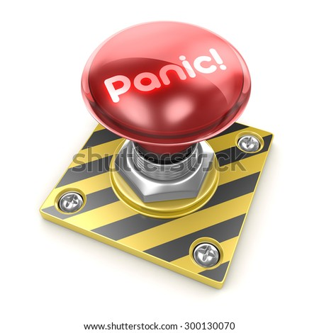 Panic! button , This is a computer generated and 3d rendered picture. - stock photo