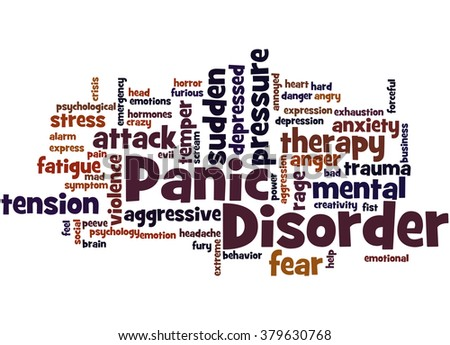 Panic Disorder, word cloud concept on white background. - stock photo
